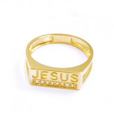 ANEL JESUS C/ 4,20G OURO 18K E 08 ZIRCONIAS BRANCA
