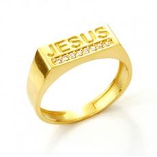 ANEL JESUS C/ 5,25G OURO 18K E 8 ZIRCONIAS BRANCA